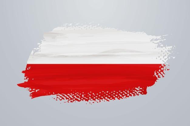 Bandiera della pittura a pennello della polonia