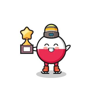 Il fumetto del distintivo della bandiera della polonia come un giocatore di pattinaggio sul ghiaccio tiene il trofeo del vincitore, un design in stile carino per maglietta, adesivo, elemento logo