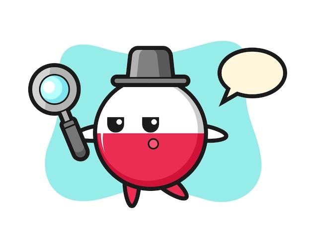 Personaggio dei cartoni animati del distintivo della bandiera della polonia che cerca con una lente di ingrandimento