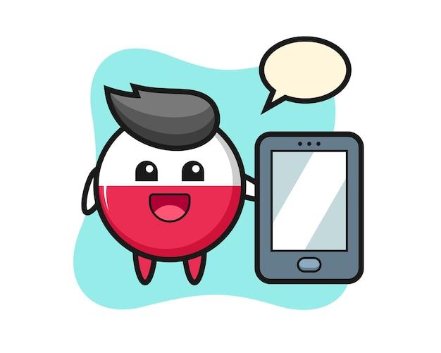 Fumetto del distintivo della bandiera della polonia che tiene uno smartphone