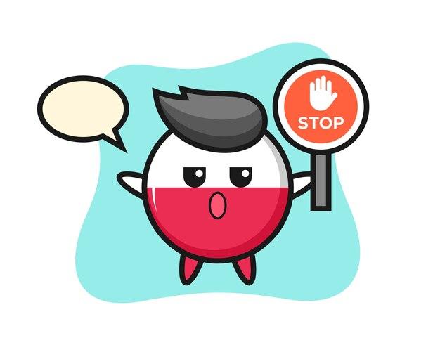Carattere distintivo della bandiera della polonia che tiene un segnale di stop