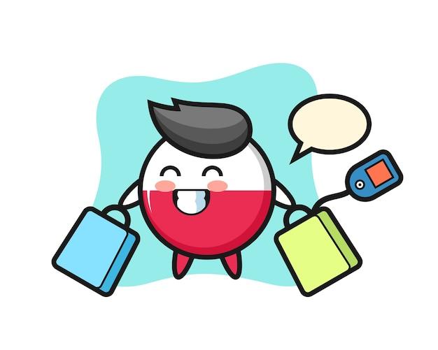Fumetto della mascotte del distintivo della bandiera della polonia che tiene un sacchetto della spesa