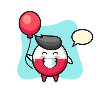 La mascotte del distintivo della bandiera della polonia sta giocando a palloncino