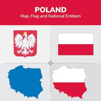 Mappa della polonia, bandiera e emblema nazionale