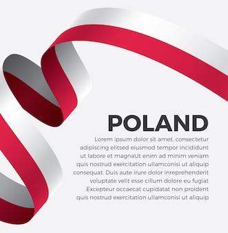 Illustrazione di vettore della bandiera del nastro della polonia su una priorità bassa bianca vettore premium
