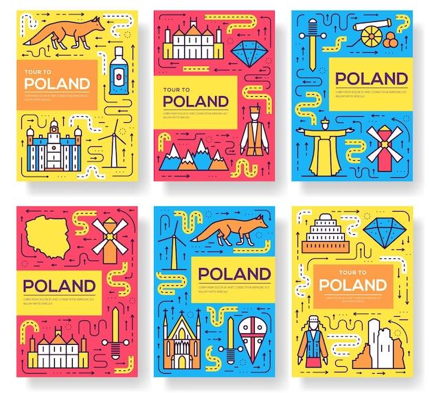 Set di carte brochure linea sottile polonia. modello di architettura di flyear, riviste, poster, libri