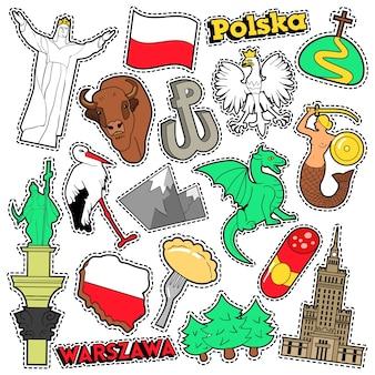 Polonia travel scrapbook adesivi, toppe, distintivi per stampe con syrenka, aquila ed elementi polacchi. doodle di stile comico