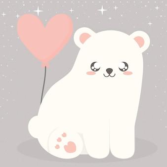 Orso polare e palloncino con stelle su grigio