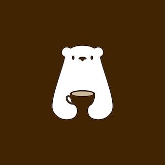 Orso polare tazza di caffè caffè bevanda bianca spazio negativo logo icona vettore illustrazione