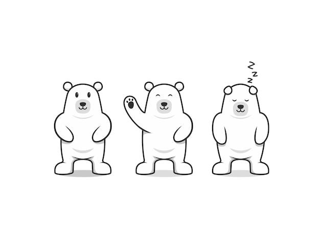 Orso polare simpatico personaggio mascotte cartone animato posa base set