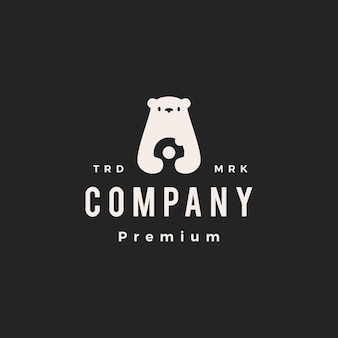 Illustrazione dell'icona di vettore del logo dell'annata delle ciambelle dell'orso polare hipster