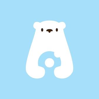 Illustrazione dell'icona di vettore del logo dello spazio negativo delle ciambelle dell'orso polare