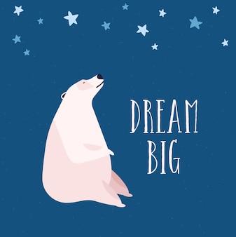 Illustrazione piana dell'orso polare. reverie e sognante, concetto di osservazione delle stelle. animale selvatico artico guardando il cielo stellato notturno. simpatico orso bianco, mammifero settentrionale su sfondo blu.