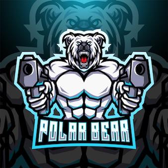 Logo della mascotte dell'esport di gunner dell'orso polare
