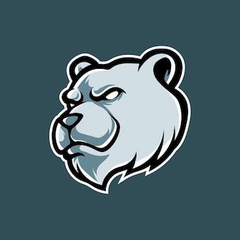 Logo della mascotte della testa dell'orso polare