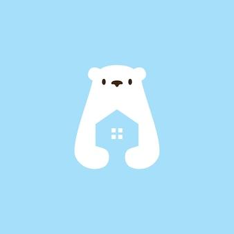 Illustrazione dell'icona di vettore del logo di architettura del mutuo della casa dell'orso polare