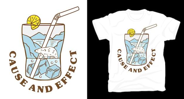 Orso polare in un design di t-shirt con illustrazione di vetro di ghiaccio
