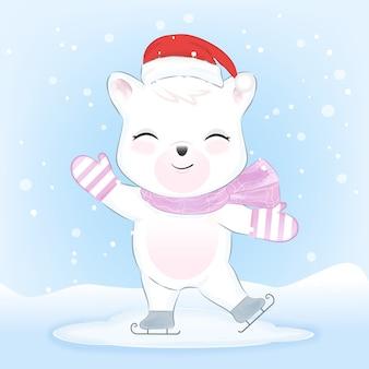 Orso polare sui pattini da ghiaccio nella neve