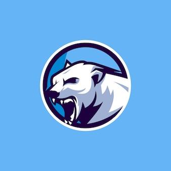 Design del logo dell'orso polare con il vettore per la squadra