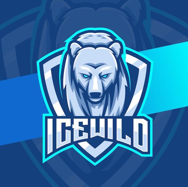 Personaggio di design mascotte orso polare per giochi e logo esport
