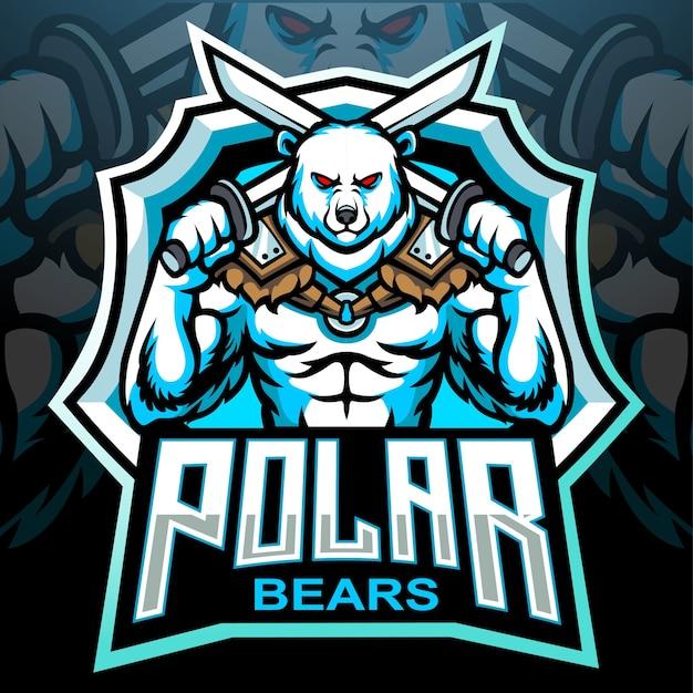Design del logo esport della mascotte dell'orso polare