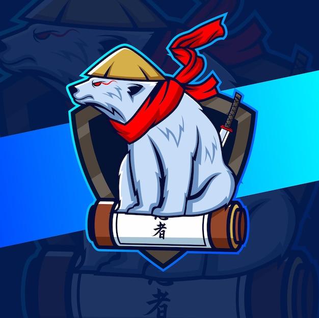 Illustrazione della mascotte dell'orso polare per il design di esport
