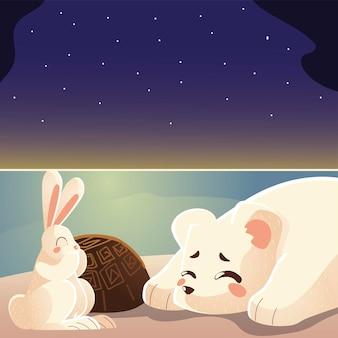 Illustrazione animale del fumetto della tartaruga e del coniglio dell'orso polare