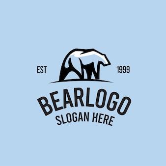 Modello di logo retrò dell'orso polare