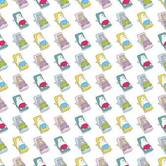 Orso polare seamless pattern sedia a sdraio personaggio dei cartoni animati