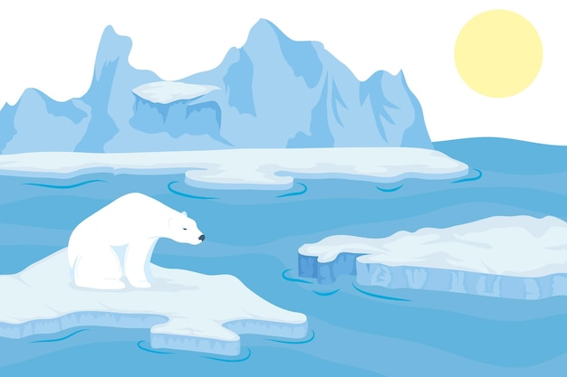 Orso polare nel paesaggio innevato