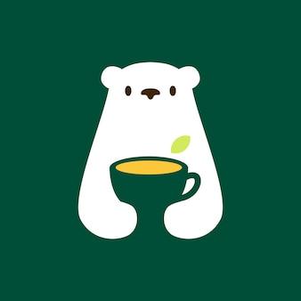 Illustrazione dell'icona di vettore del logo dello spazio negativo della tazza di tè dell'orso polare