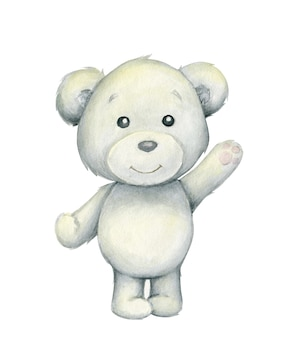 Orso polare. acquerello, animale polare in stile cartone animato su uno sfondo isolato.