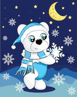 Orso polare con sciarpa blu nella notte. vector simpatico personaggio dei cartoni animati. orso bianco su sfondo blu con fiocchi di neve. concetto di natale. perfetto per la cartolina d'auguri di natale