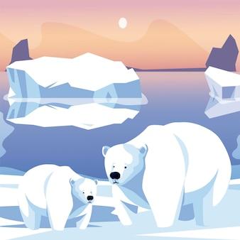 Famiglia di orsi polari nell'illustrazione della scena del polo nord dell'iceberg della neve