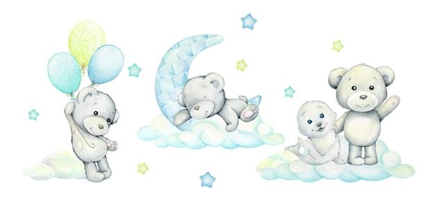 Orsi polari, una foca, nuvole, la luna, palloncini, una serie di animali acquerellati, in stile cartone animato.