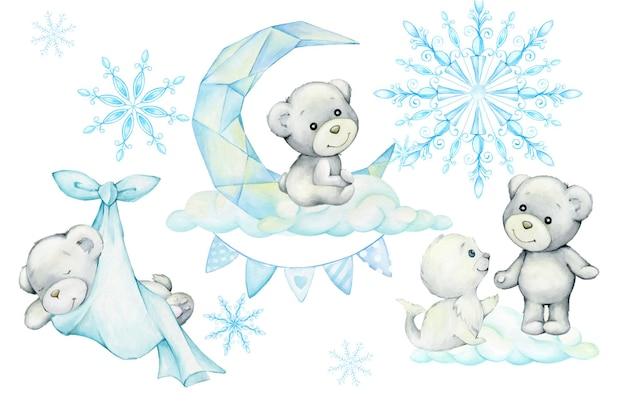 Orsi polari, foche, nuvole, luna, fiocchi di neve, simpatici animali, in stile cartone animato