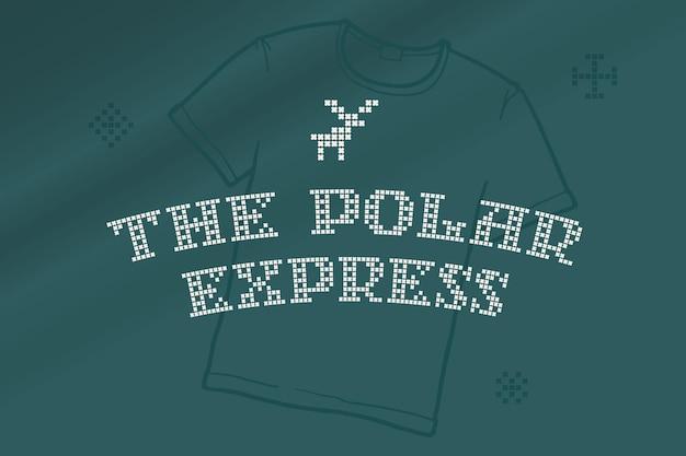 La scritta polar express è realizzata con maglie rotonde spesse segno di stile piatto con un set di icone bonus