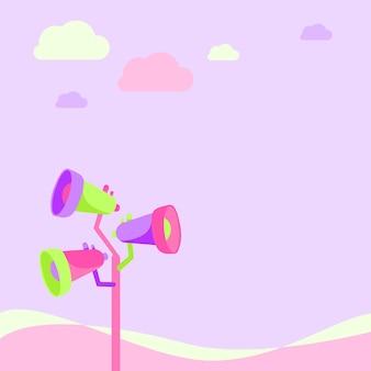 Palo megafoni disegno fare nuovo annuncio per uno spazio aperto sotto le nuvole. altoparlanti a megafono in un disegno del montante che produce pubblicità tardiva in un'area defogliata.