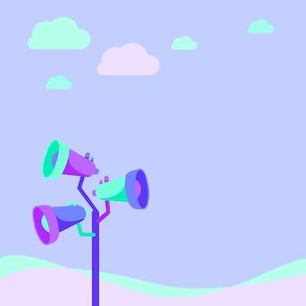 Megafoni palo che disegnano facendo un nuovo annuncio in uno spazio aperto sotto il megafono delle nuvole
