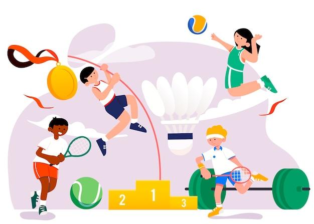 Set di illustrazioni per salto con l'asta, pallavolo, tennis e sollevamento pesi