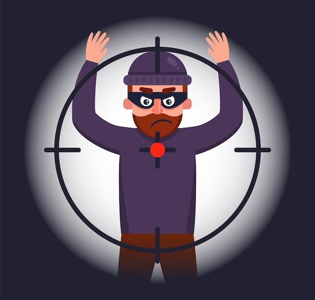 La polizia tiene in braccio un rapinatore che ha alzato le mani. illustrazione di carattere piatto.