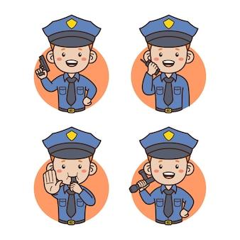 Ritratto di avatar di polizia isolato