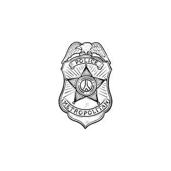 Icona di doodle di contorni disegnati a mano distintivo della polizia