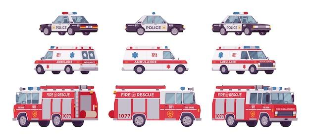 Auto della polizia, ambulanza, set di camion dei pompieri
