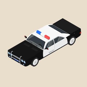 Auto della polizia. berlina in bianco e nero. il veicolo di pattuglia. illustrazione vettoriale.