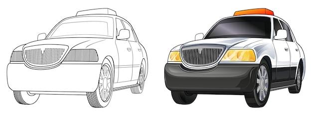 Pagina da colorare di cartoni animati auto della polizia per i bambini