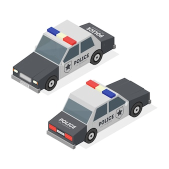 Trasporto di servizio urbano della macchina della polizia sulla vista isometrica