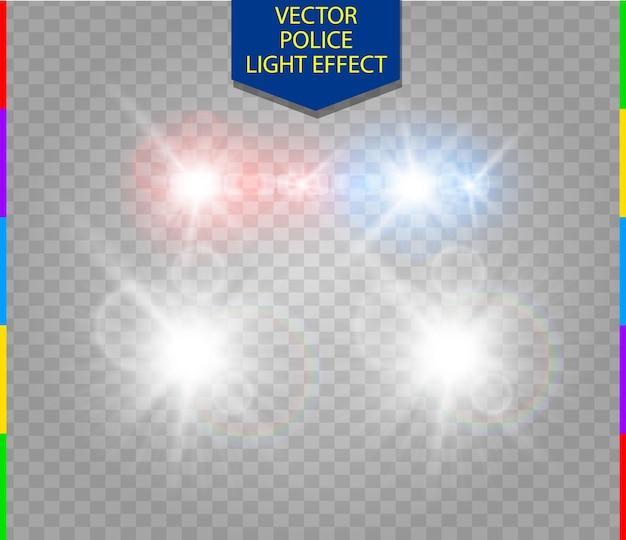 Effetto luce speciale bagliore auto della polizia con fari su trasparente