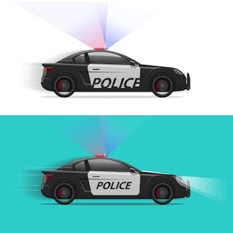Il volante della polizia che si muove velocemente con la luce del lampeggiatore della sirena o la vista laterale del veicolo di pattuglia ha isolato l'immagine piana del clipart dell'illustrazione del fumetto