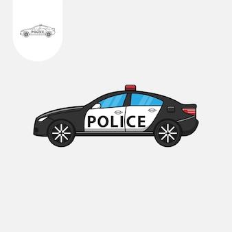 Auto della polizia su sfondo bianco cartone animato auto della polizia
